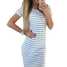 Для женщин Полосатый карандаш пляжное платье Бохо до середины икры повседневные платья короткий рукав 2018 летние платья вечерние пикантные сарафан LX301