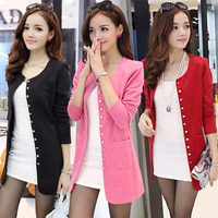 Large Size Women New Winter Korean Version Of The Small Suit Slim Thin Knit Cardigan Coat