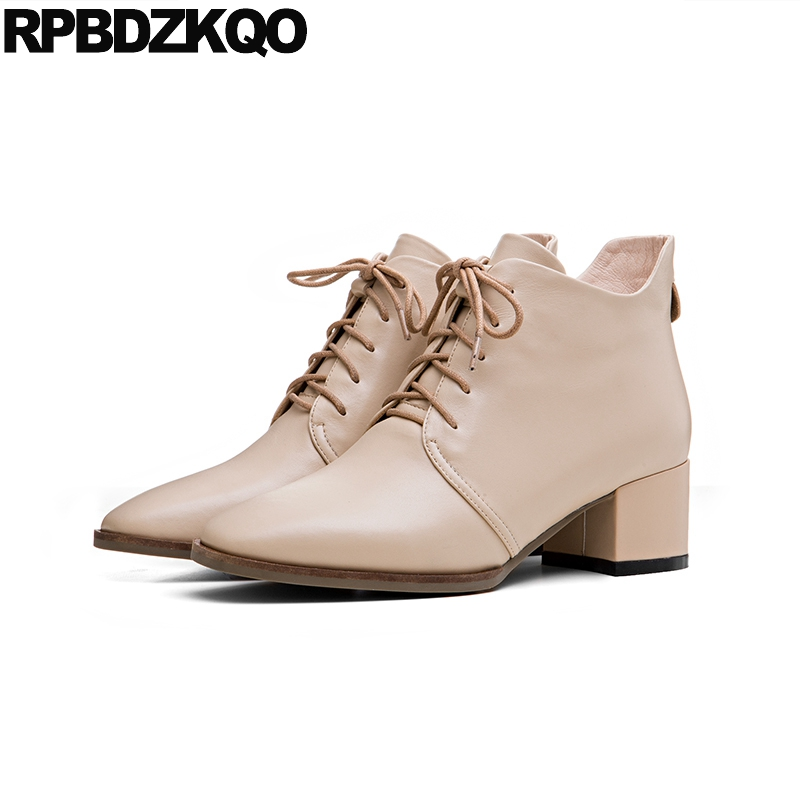 Autumn High Heel Booties Ankle Beige Genuine Leather Shoes British Front Lace Up Casual Boots Chunky Fall Square Toe Chinese New  fashion british style men s genuine matte leather boot shoes casual lace up male martin ankle chunky booties homme s4472