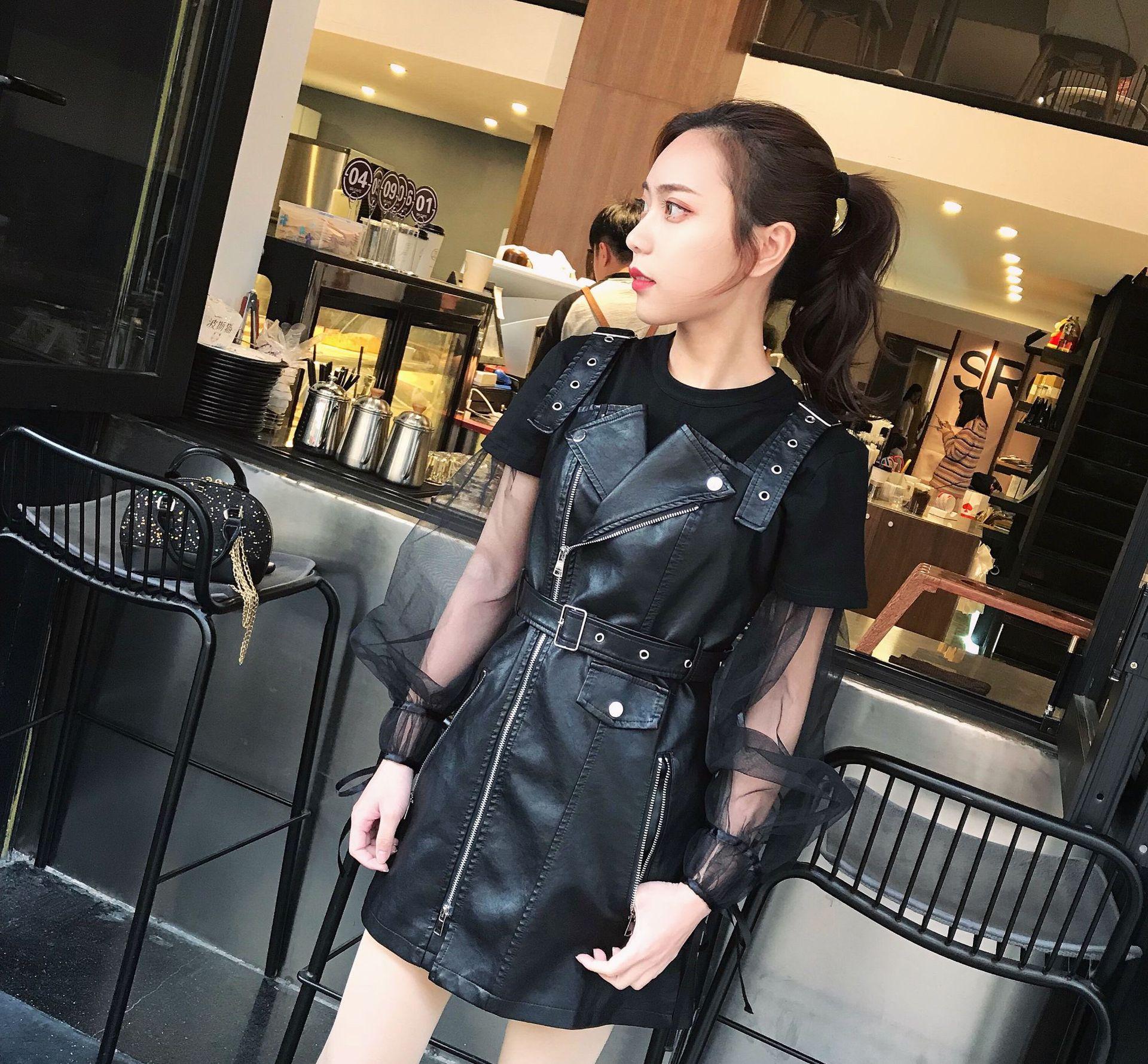 Sangle Lx1806 Plus Zipper Femmes Courtes Xing gray 5xl En Mini Robes Noir Taille V Red Mode Cuir Cou Automne 2018 Pu La Robe Sexy Se black wine T3lKuF1Jc