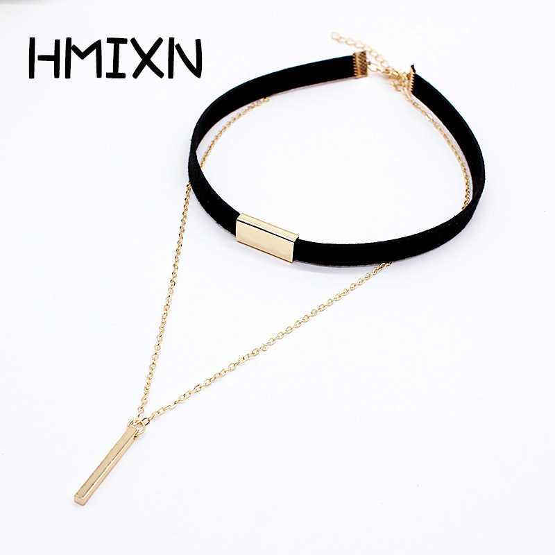 2019 New Black Velvet Choker Necklace Strip rope Chain Bar Square tube strip Chocker Women collar mujer collier femme ras du cou