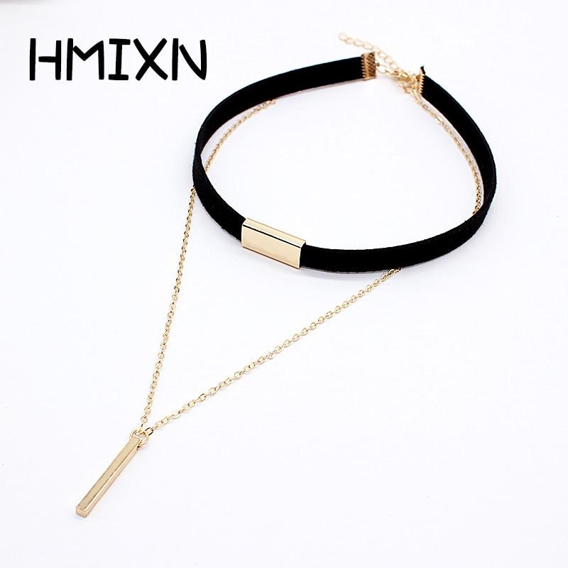 2019 New Black Velvet Choker Necklace Strip rope Chain Bar Square tube strip Chocker Women collar mujer collier femme ras du cou(China)