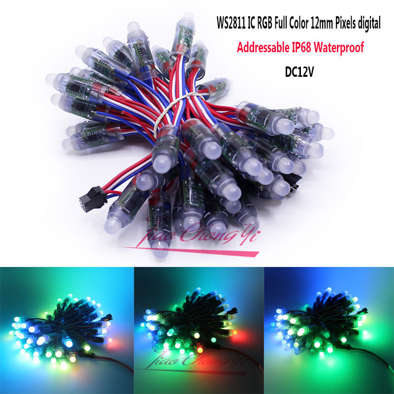 WS2811 2811 IC RGB Full Color 12mm píxeles direccionable digital 5 V 12 V Color ideal LED els Pix módulo IP68 impermeable luz del punto