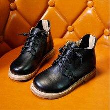 Сапоги детские ботинки «мартенс» 2018 Новинка осени детская обувь из натуральной кожи для мальчиков и девочек сапоги size26-36