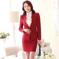 60c701426f Custom Women Skirt Suits OL Slim Female Office Uniform Long Sleeve Solid  Formal Red 2 Piece