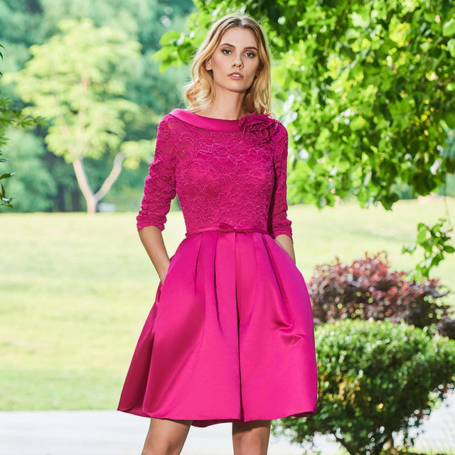 Tanpell empire short cocktail dress dark plum half sleeves knee length a line gown lady lace formal plus custom cocktail dresses