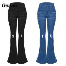 Genuo Autumn Jeans Pant Women Denim Flares Pants Jeans mujer Women Fashion Elastic Casual Mid Waist Trousers Skinny Jeans Woman цена