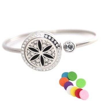 10Pc sLife Flower Bracelet Bangle Aromatherapy 25mm Magnet Crystal Stainless steel essential oil diffuser locket bracelet