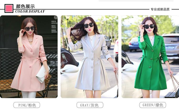 Super Pretty  Elegant Trench Coat Women Windbreaker Ladies Peplum Jacket Pink Grey Green Manteau Femme Silm Long Blazers b (2)