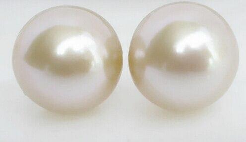 Genuine 14mm Sea Black South Sea Shell Pearl Crystal 18K White Plated Ring 7 8 9