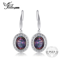 6ct Natural Rainbow Fire Mystic Topaz Dangle Earrings For Women Solid 925 Sterling Silver Brand New