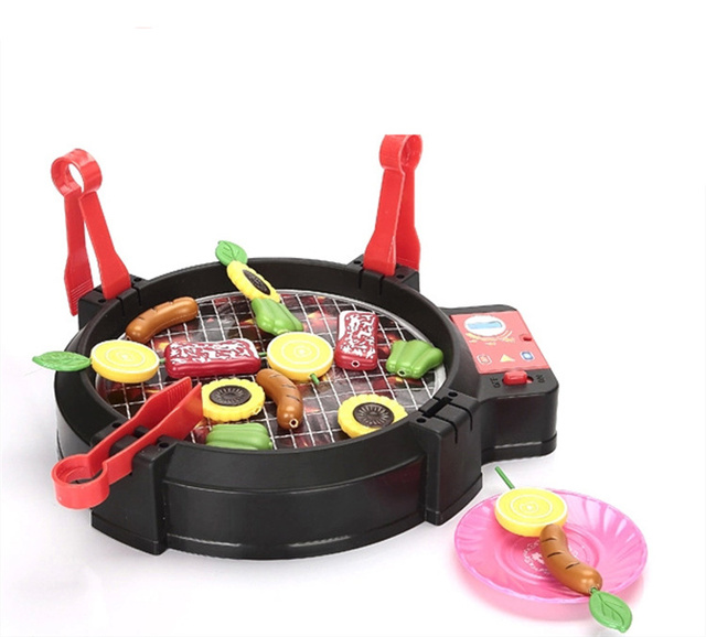 [Funny] Play house toy Electric music barbecue toy sound BBQ kitchen food sets family parent-child interactive funny cooking Toy
