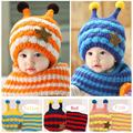 2014 Winter Baby Hats Scarf Sets Kids Skullies Beanie Knitted Collar Cute Bee Star Children Caps Hats Girls Boys Infantil Wear