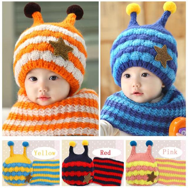 a9d31083827 2018 Winter Baby Hats Scarf Sets Kids Skullies Beanie Knitted Collar Cute  Bee Star Children Caps