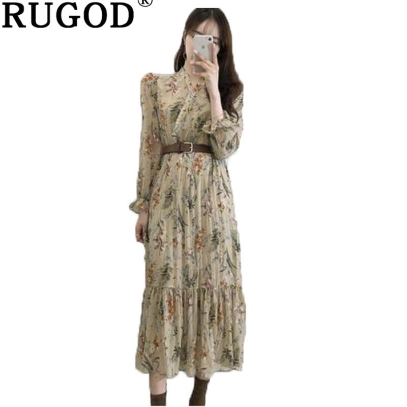 19399cb078 RUGOD Vintage imprimer femmes robe plissée col en v élégant femmes robe mi-longue  Chic printemps robe vestidos mujer 2019 - a.empyeria.me