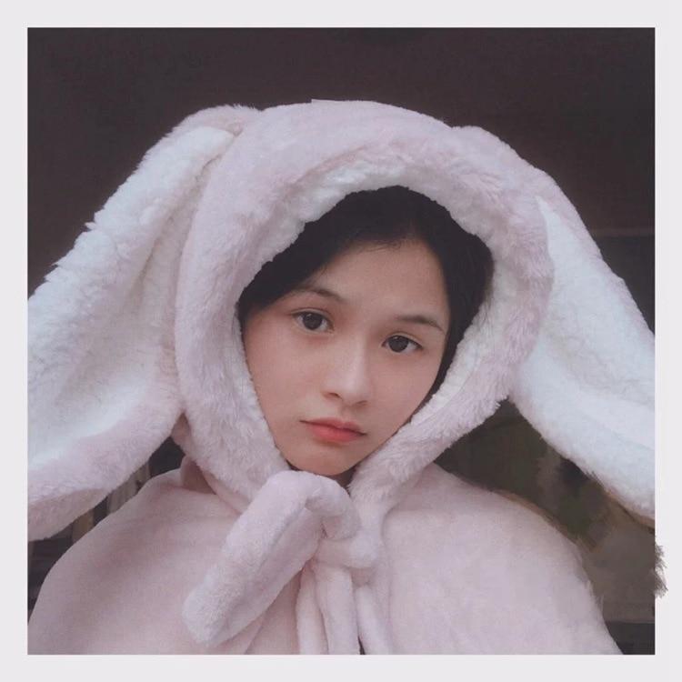 Cute Pink Comfy Blanket Sweatshirt Winter Warm Adults and Children Rabbit Ear Hooded Fleece Blanket Sleepwear Huge Bed Blankets 85