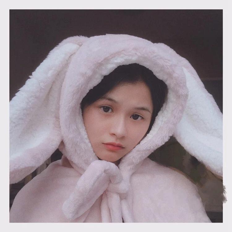 Cute Pink Comfy Blanket Sweatshirt Winter Warm Adults and Children Rabbit Ear Hooded Fleece Blanket Sleepwear Huge Bed Blankets 86