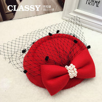 Elegant Pearl Hairpin Small Felt Hats Women Hair Accessories For Girls With Net Free Shipping CYJ