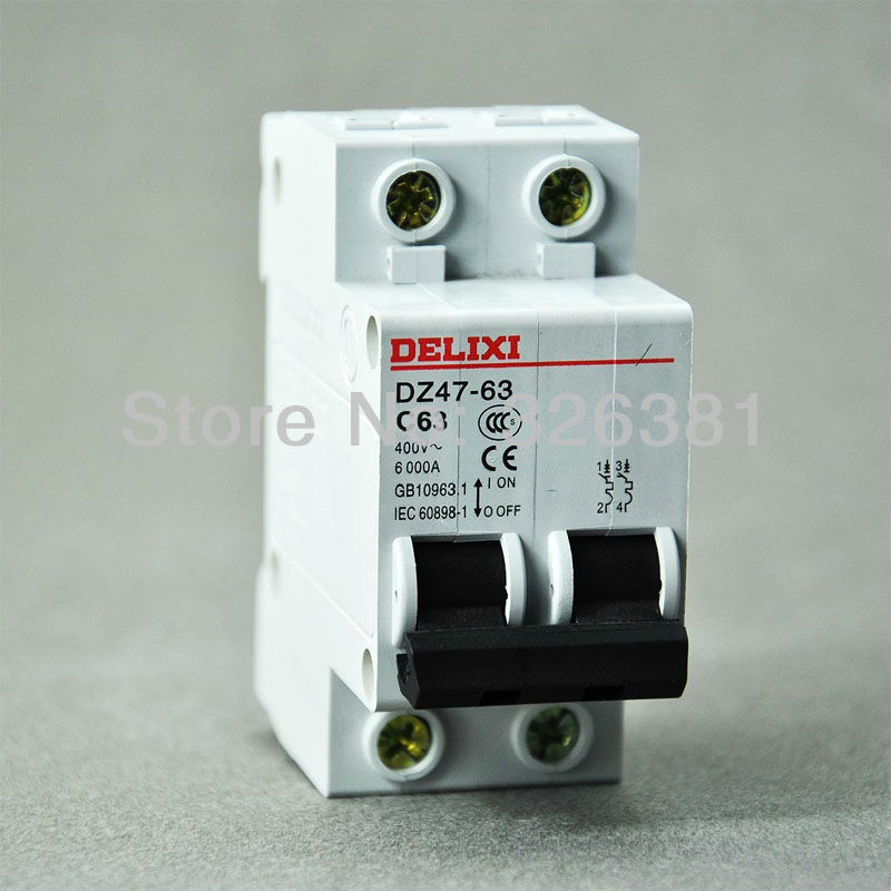 Us 13 5 Delixi Brand Dz47 63 C63 Type 2p Ac 400v Circuit Breaker 16a 63a Air Switch Lighting Distribution System In Breakers From Home