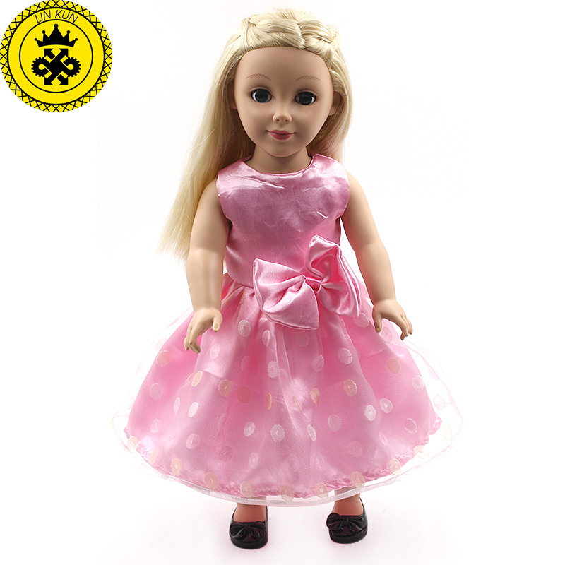 American Girl Dolls Pink and White Lace Princess Dress Clothing of 18 inch Doll Dress Doll Accessories Girls Best Gift MG140-141 handmad 18 inch american girl doll clothes princess anna dress fits 18 american girl doll mg 032