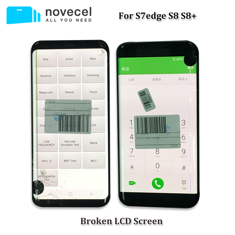 Black Dot Defective LCD Screen with Frame Used For Samsung S7edge S8  S9 Broken Glass and Separating Practice