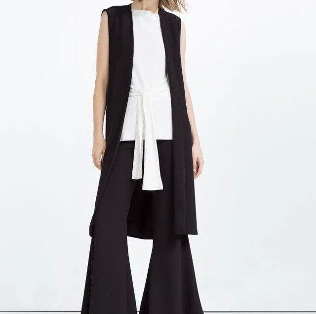 2016 New Fashion Office Women Elegant V-Neck Jacket Long Vests Sleeveless Side Open Vintage Casual Brand Designer Coat