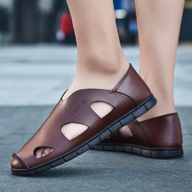 2018 Summer Men Sandals Fashion Sewing Outdoor Men Shoes Closed Toe Hard-wearing Men Beach Shoes Sandalias Hombre