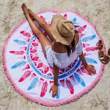 2015Round Bohemia Beach Towel 100% Cotton Printed Tassel Knitted 150*150cm summer toalla rounded beach swim towel