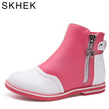 SKHEK Kids Boots Fashion Brand Rubber Outsole Leather Girl For Children Shoes Ankle Flat with Girls Martin  Watermelon Red