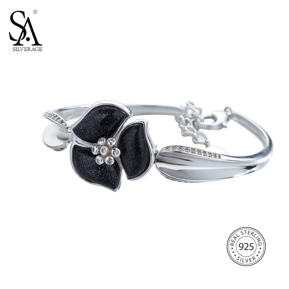 SA SILVERAGE 925 Sterling Silver Flower Chain Bracelets & Bangles for Women Fine Jewelry Black Vintage Silver Bangles Bracelets браслет 925 h03 bracelets bangles