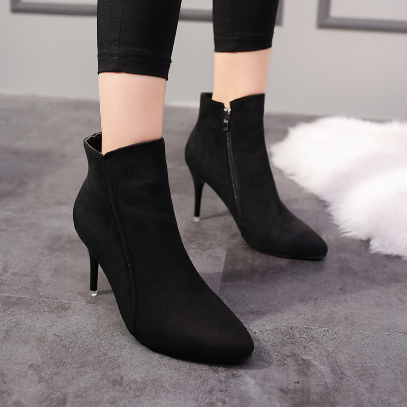2018 Spring Autumn Stiletto Thin High Heels Pointed Toe Faux Leather Zipper Style Sexy Ankle Womens Boots