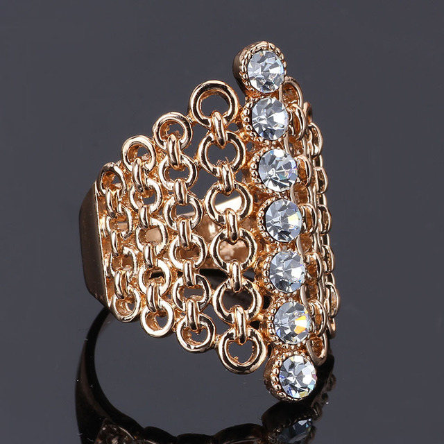 New Hot Selling Big 18K Rose Gold Plated Multi Color Stone