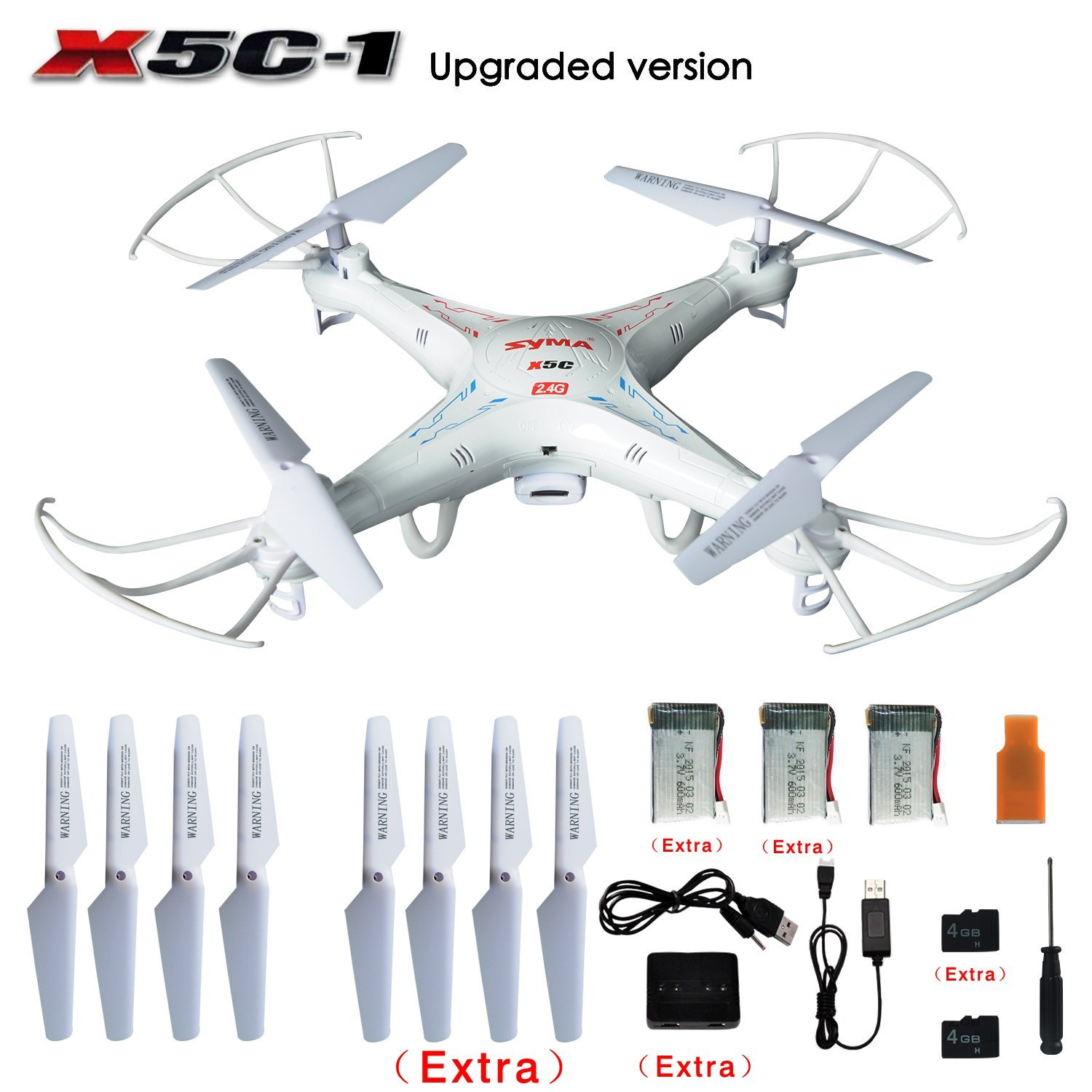 Original SYMA X5C/ X5C-1 Explorers 2.4G 4CH 6-Axis Gyro RC Quadcopter with HD Camera+ Extra 2pcs Batteries+Propeller Blades+4GB syma x5c 1 2mp hd fpv camera 2 4ghz 4ch 6 axis rc quadcopter