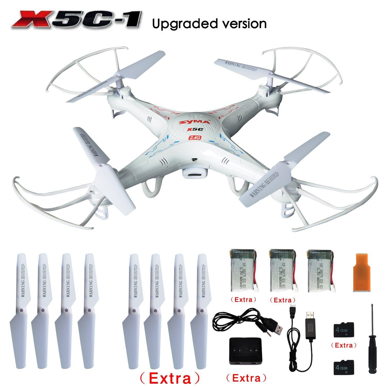 Originale SYMA X5C/X5C-1 Explorers 2.4G 4CH-Axis Gyro RC Quadcopter con la Macchina Fotografica HD + Extra 2 pz batterie + Pale Dell'elica + 4 GB