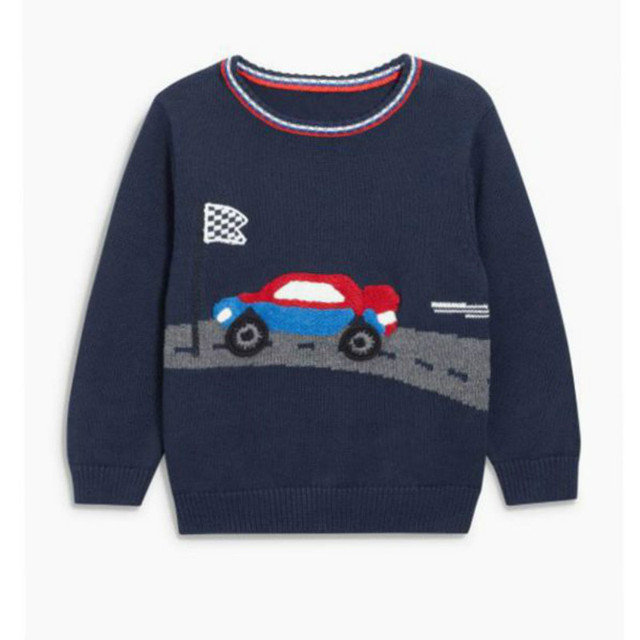 High Quality New Boy Sweater Children Clothing Embroidery Cars