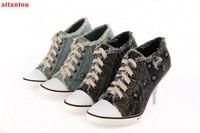 Newest Fashion Lace Up Bule Denim Ankle Boots Hole Cut Outs Design Thick Heel Women Shoes