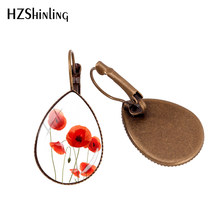 2019 Baru Poppy Bunga Air Drop Anting-Anting Merah Bunga Poppy Seni Anting-Anting Klip Kerajinan Tangan Anting-Anting Drop Kubah Kaca Perhiasan(China)
