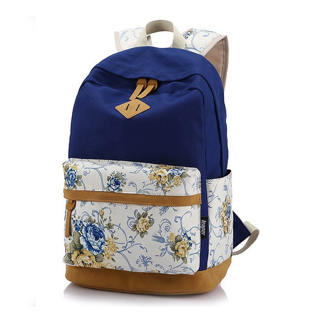 Brand Quality Floral Leather Canvas Bag Backpack School for Teenager Girl Laptop Bag Printing Women Backpack