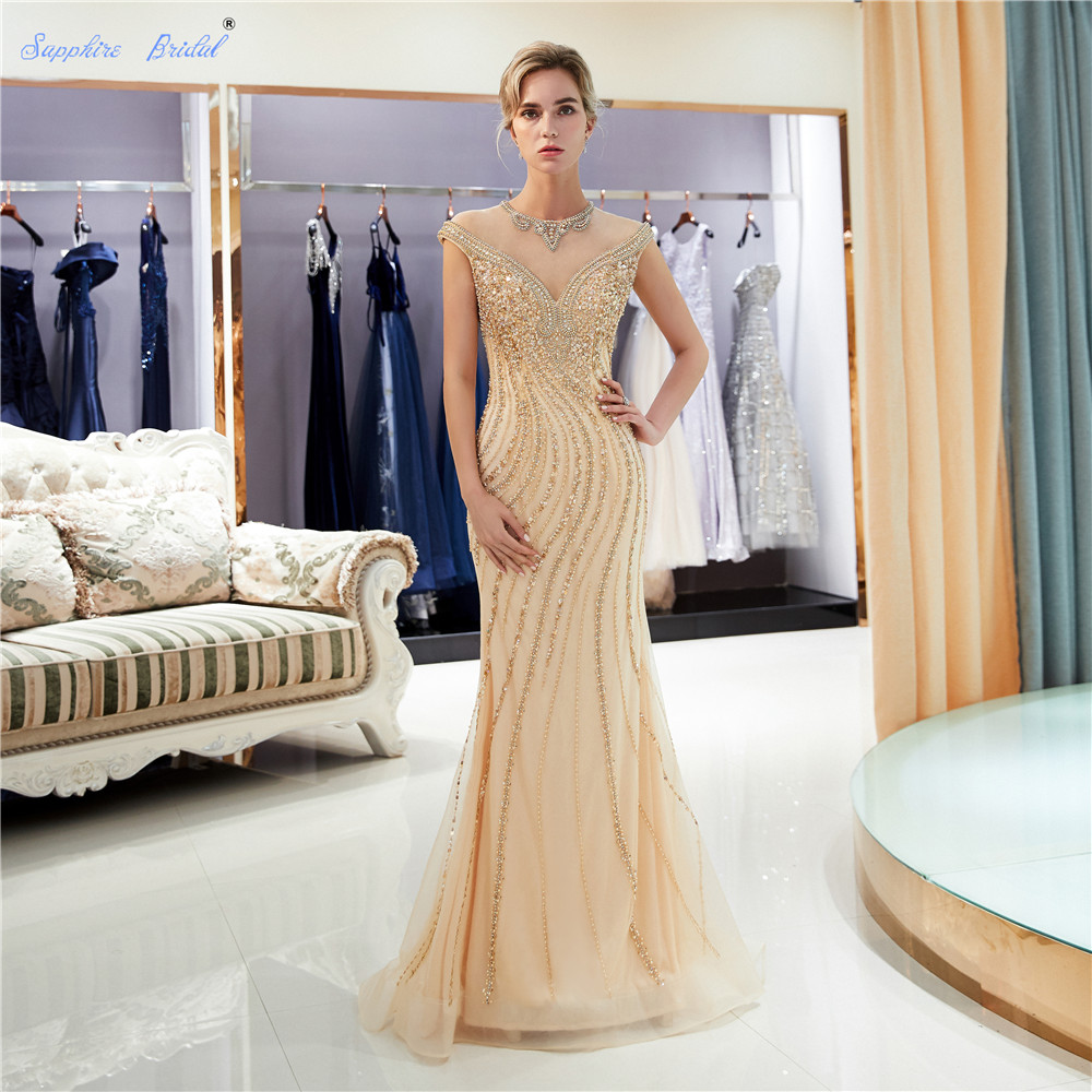 Sapphire Bridal 2019 New Women's Formal   Evening   Gowns Top End Tulle Gold Huge Beading Sparkly Scoop Sexy Gold   Evening     Dress