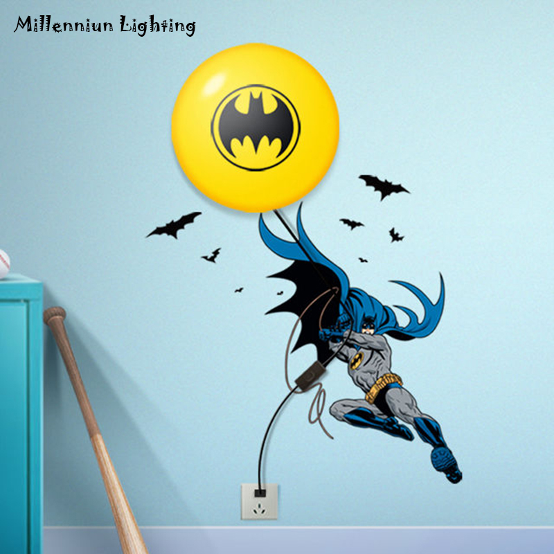 Us 25 8 50 Off Batman Wallpaper Wall Lamp E14 Children S Bedroom Bedside Lights Boy Gift Cartoon Light Personalized Home Fixtures In Led