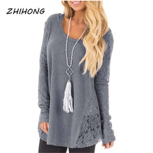 Lace Hollow out  Stitching Full Lace Long Sleeves solid color Round Neck Shirt Women's Sweater