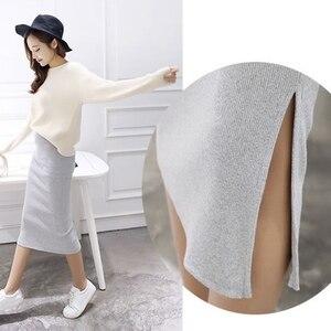 Image 1 - Saia de quadril com fenda e malha feminina, saia slim com fenda, stretch, cintura longa, primavera, outono e inverno, 2020 saias