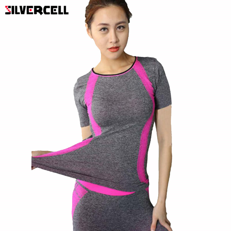 SILVERCELL Workout Compression Tights Women Gril T-shirts Dry Quick Casual Short Sleeve Fitness Women Clothes Tees tops