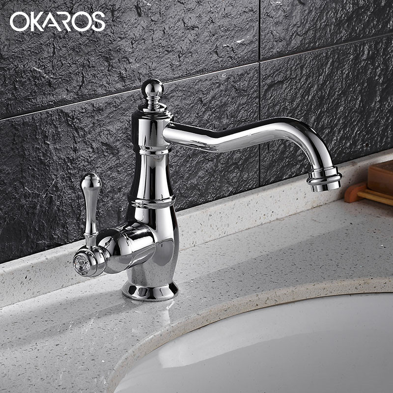 OKAROS Bathroom Basin Faucet Brass Chrome/Black Baked Single Holder Single Handle Vessel Sink Hot Cold Water Tap Mixer Torneira beelee modern bathroom products chrome and black hot and cold water basin faucet mixer single handle torneira water tap bl6601bh