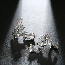No Pierced Crystal Leaf Ear Clip Earring Women