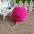 Real Fur Ball 8cm Pompom Keychain Car Keyring Rex Rabbit Fur Ball Keychain Fur Brand Pompons Bag Charms With Chains Keyring
