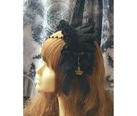 Princess sweet lolita Hairbands black headband hemp removable black beads bow pseudo bonnet belt hoop KC MHTSP038