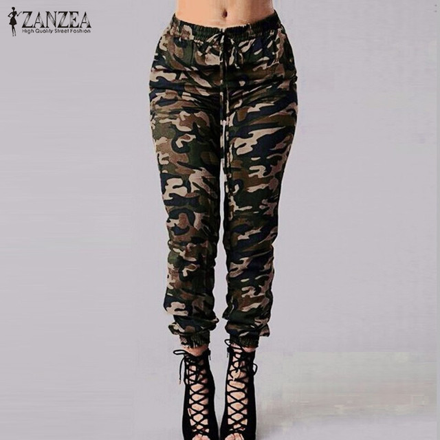 9bb9da1bb73d85 ZANZEA 2018 Autumn Army Cargo Pants Women Camouflage Printed Trousers  Military Elastic Waist Pants Plus Size