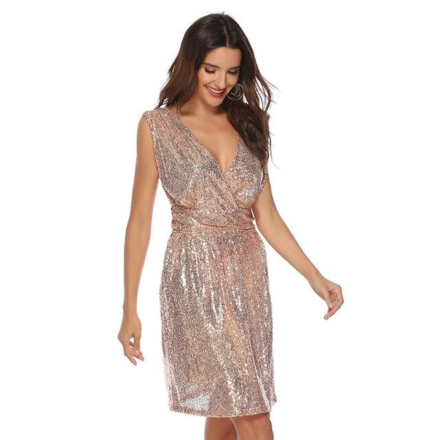 2019 Hot sell women sexy club dress women gold sequined dress summer sleeveless V-neck short dress with Sequins decoration