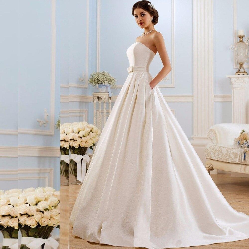 A Line   Bridesmaid     Dresses   2018 Vintage Pockets Bow China Vestidos De Novia Backless Plus Size Button Bride Bridal Gowns